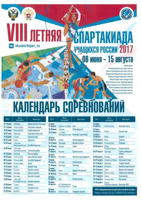 Календарь соревнований VIII летняя спартакиада